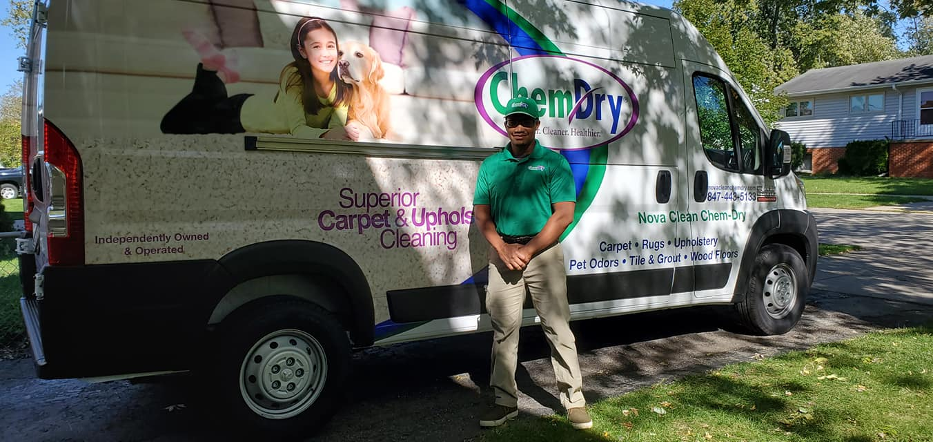 Nova Clean Chem-Dry service van and technician preparing for carpet cleaning service